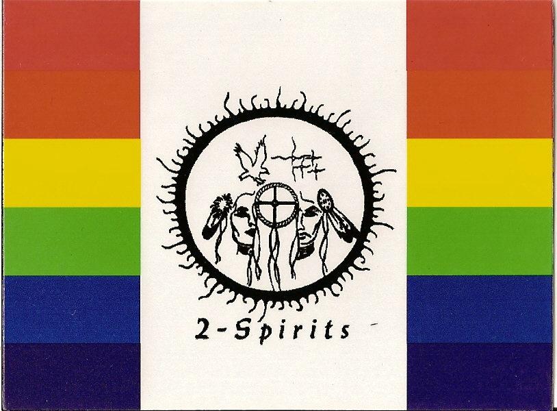 Un drapeau représentant des personnes bi-spirituels des Premières Nations.
