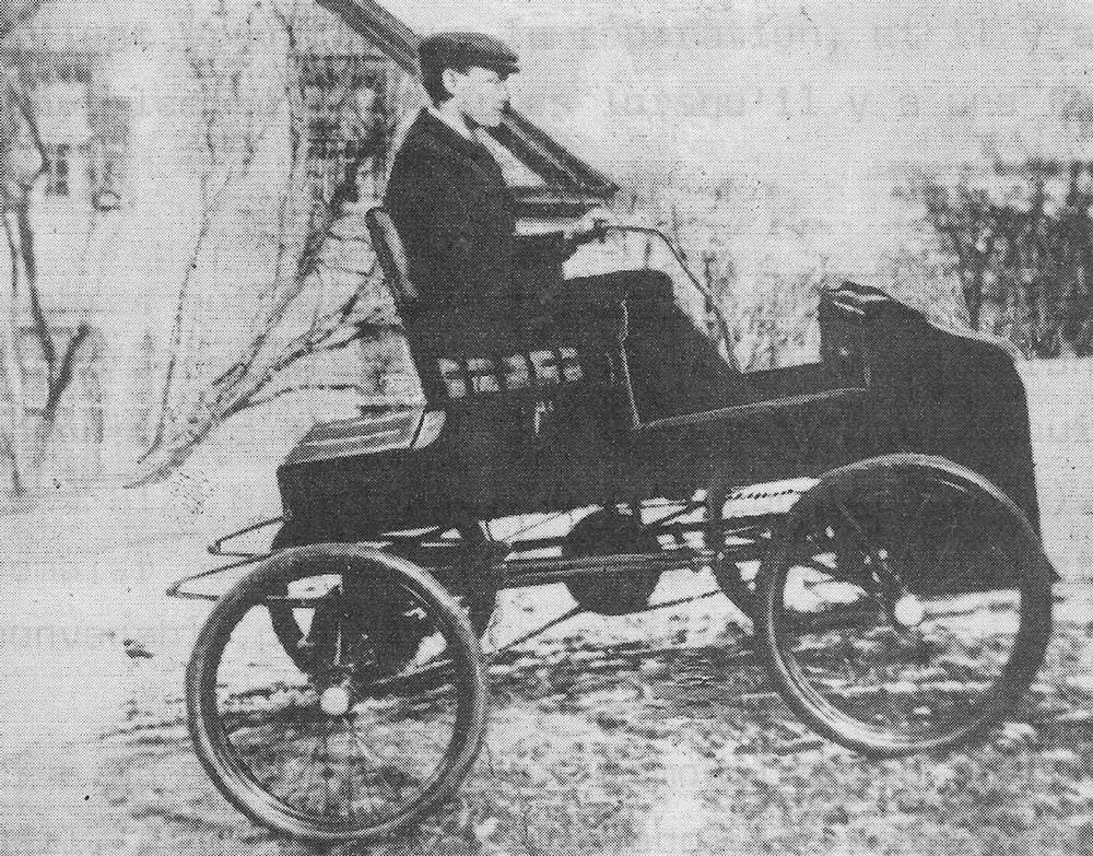 Photographic image of the Fossmobile being driven in Sherbrooke, Quebec