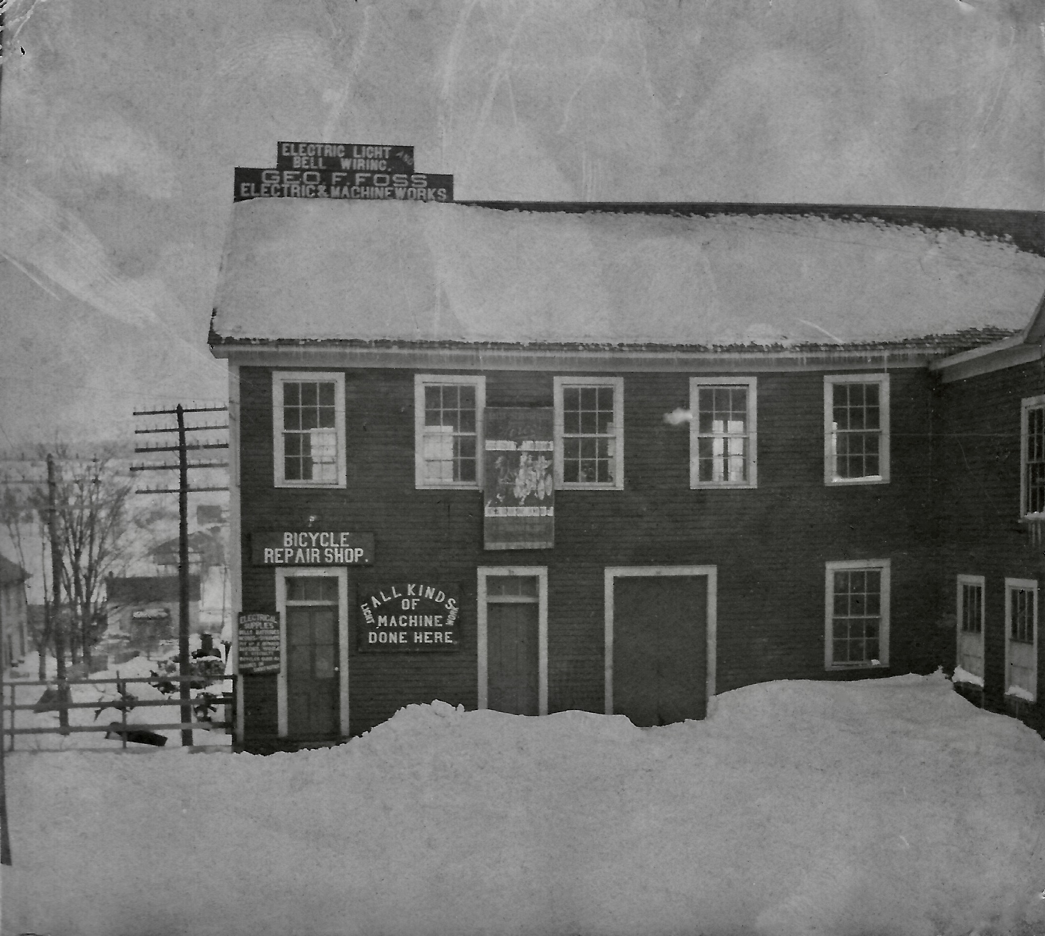 Photographic image showing the exterior of George Foote Foss' original workshop