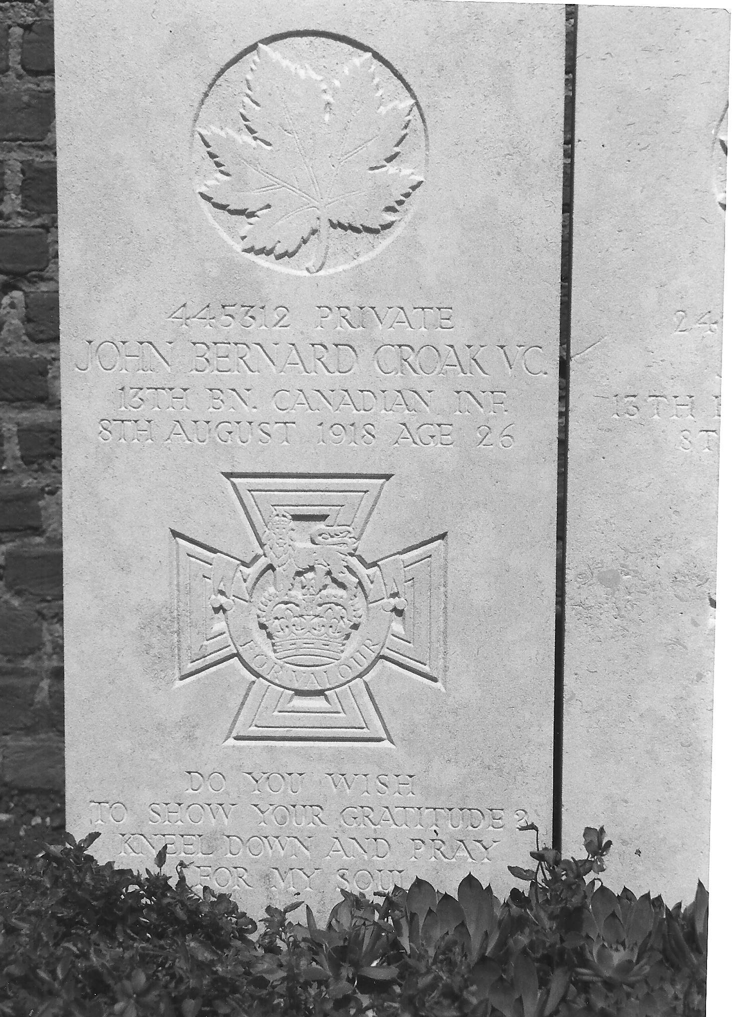 Pierre tombale de John Bernard Croak