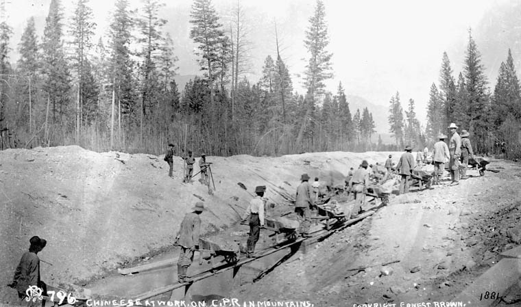 Image of Chinese labourers working on the Canadian Pacific Railway in British Colombia, c. 1884