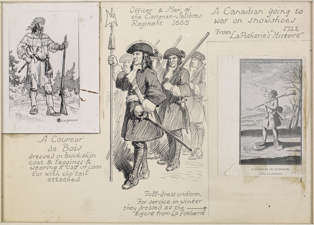 An ink drawing of a Coureur de Bois, Officer and Men of the Carignan-Salières Regiment, and a Canadian Going to War