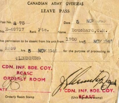 Passe d'absence, datée du 5 novembre 1945, à Oldenberg, Allemagne.