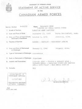 Etat de service de M. Chow avec l'armée canadienne.
