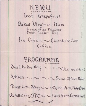 Menu and programme for the 1943 WRCNS Cadet graduation dinner held at Hardy House.