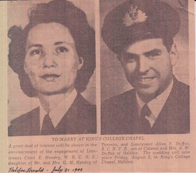 Clipping from The Halifax Herald of July 21, 1945. The clipping announces the upcoming wedding of Allan F. Duffus and Carol E. Hendry.