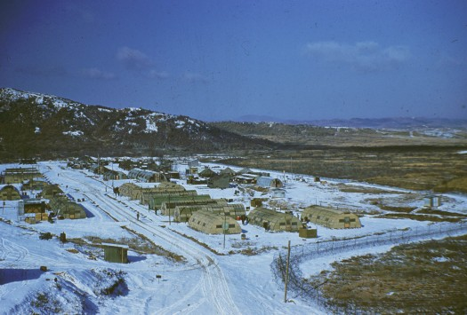 Canadian 3rd Advanced Dressing Station camp near the 38th Parallel in Korea during winter 1955.