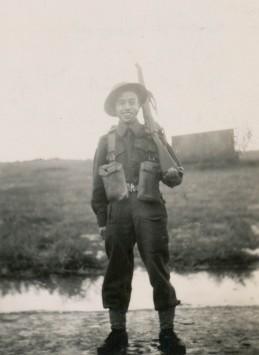 Private Ed Lee in training at Maple Creek, Saskatchewan, October 1944.