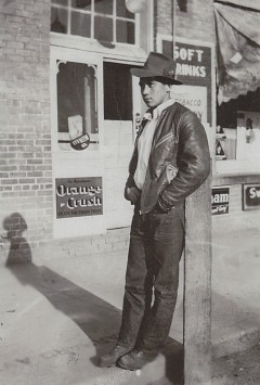 John Marchand, 19 years old, home from a logging camp, Vernon, British Columbia, Summer 1940.