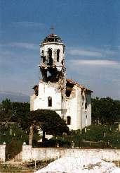 A damaged church in Bosnia, 1993.