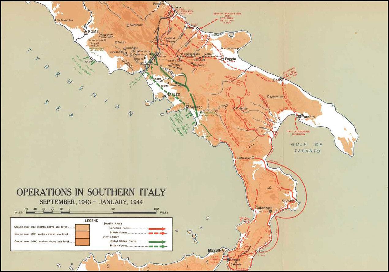 Opérations dans le sud de l'Italie (carte)