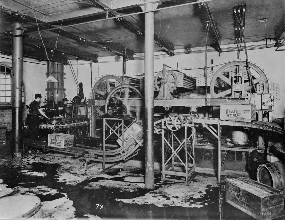 Photo of beer being packaged inside O'Keefe Brewery