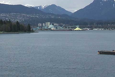 Looking west to Brockton Point in Stanley Park from Canada Place