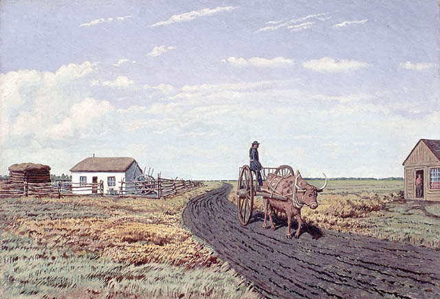 « Manitobah » Settler's House and Red River Cart
