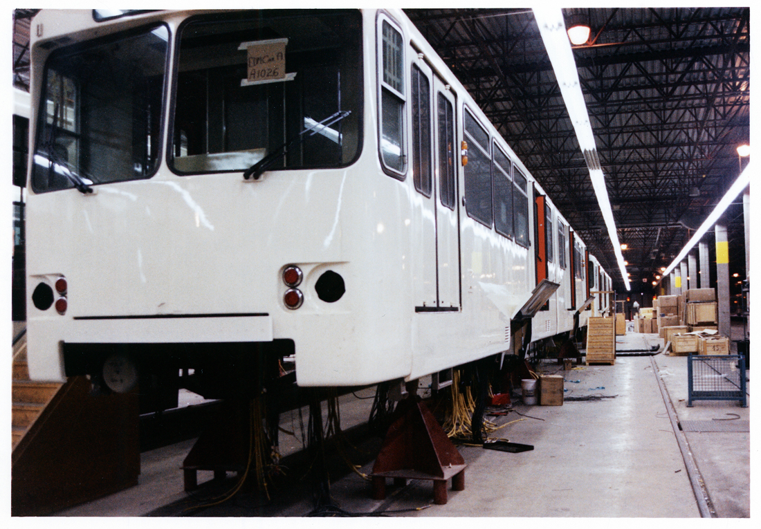 Shells of the first light rail vehicles arrived by rail in January 1980.