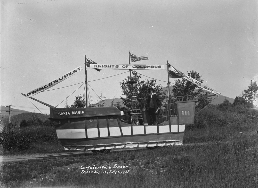 Knights of Columbus float during the Confederation Parade, 1927