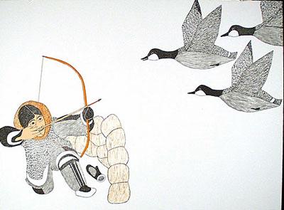 Peter Pitseolak, Nirliniaktuk, lithograph on paper.