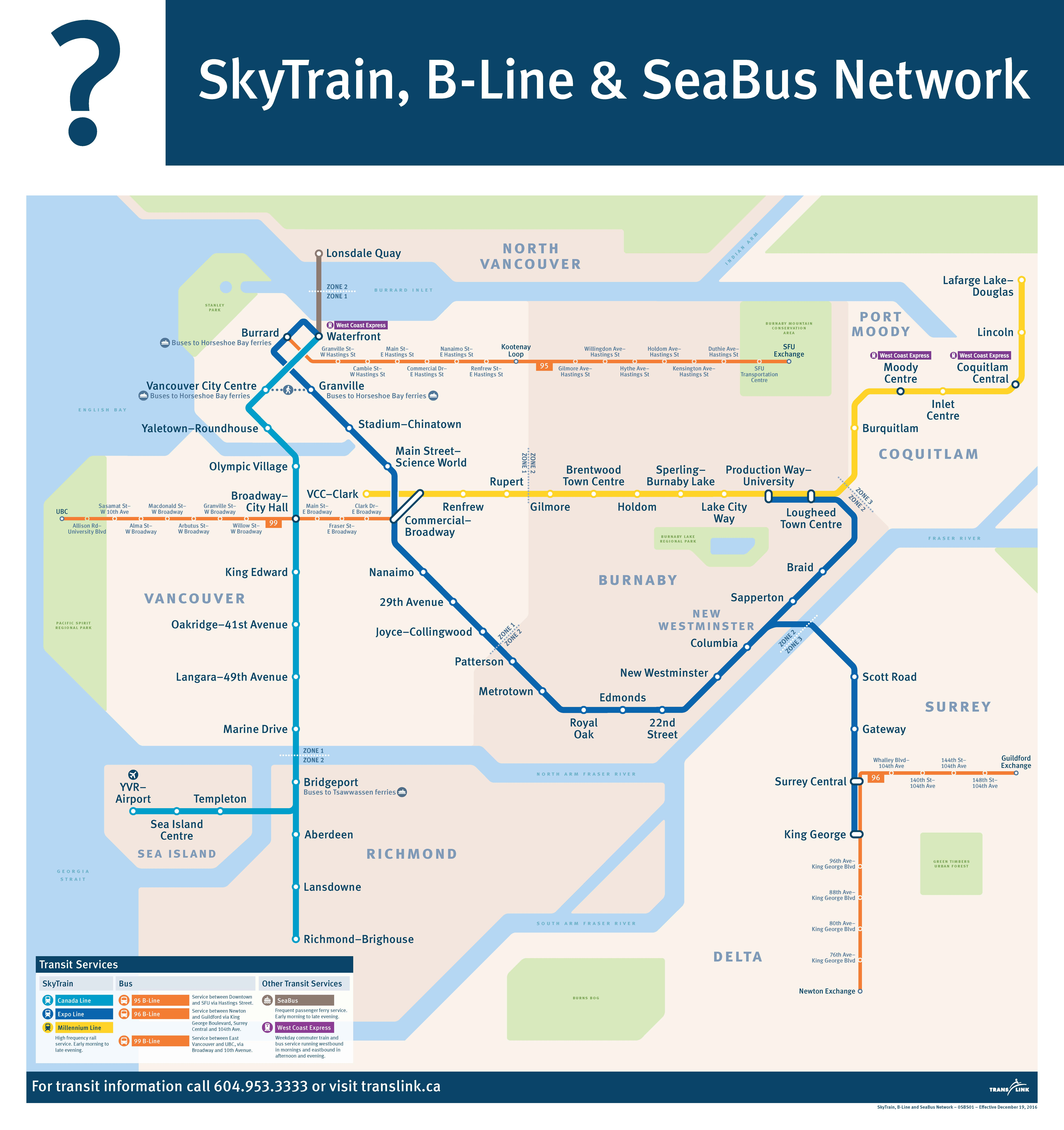 Carte du réseau du SkyTrain, B-Line et SeaBus de Vancouver