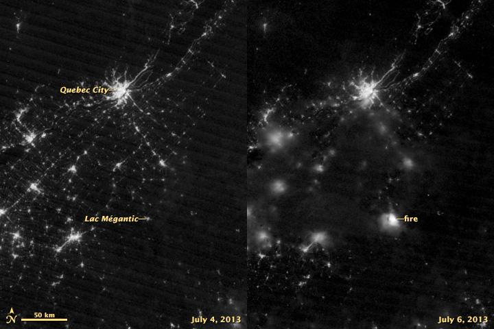 Lac-Mégantic derailment from space