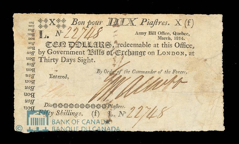 Army Bill Office 10 Dollar Note