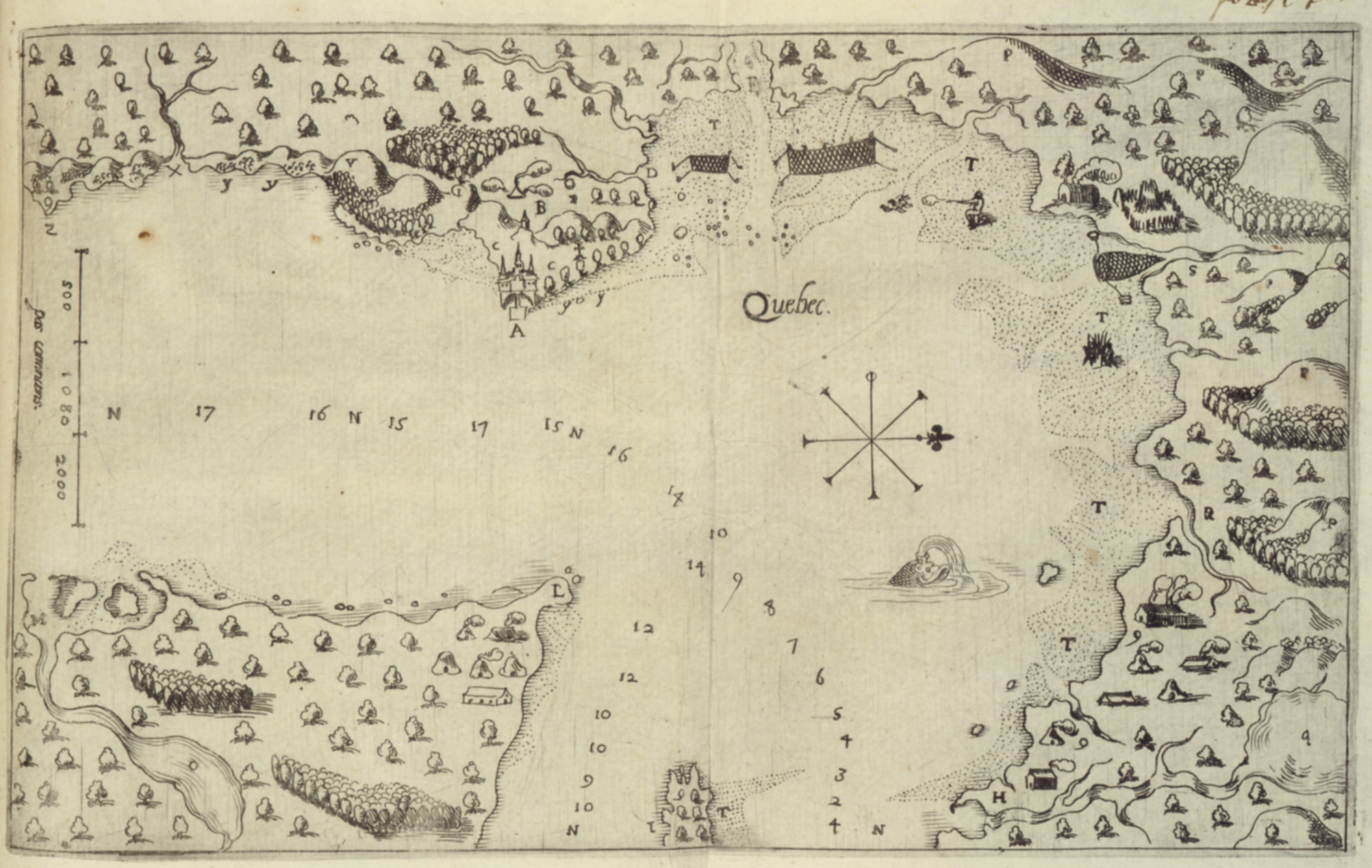 Map of Quebec City, 1608