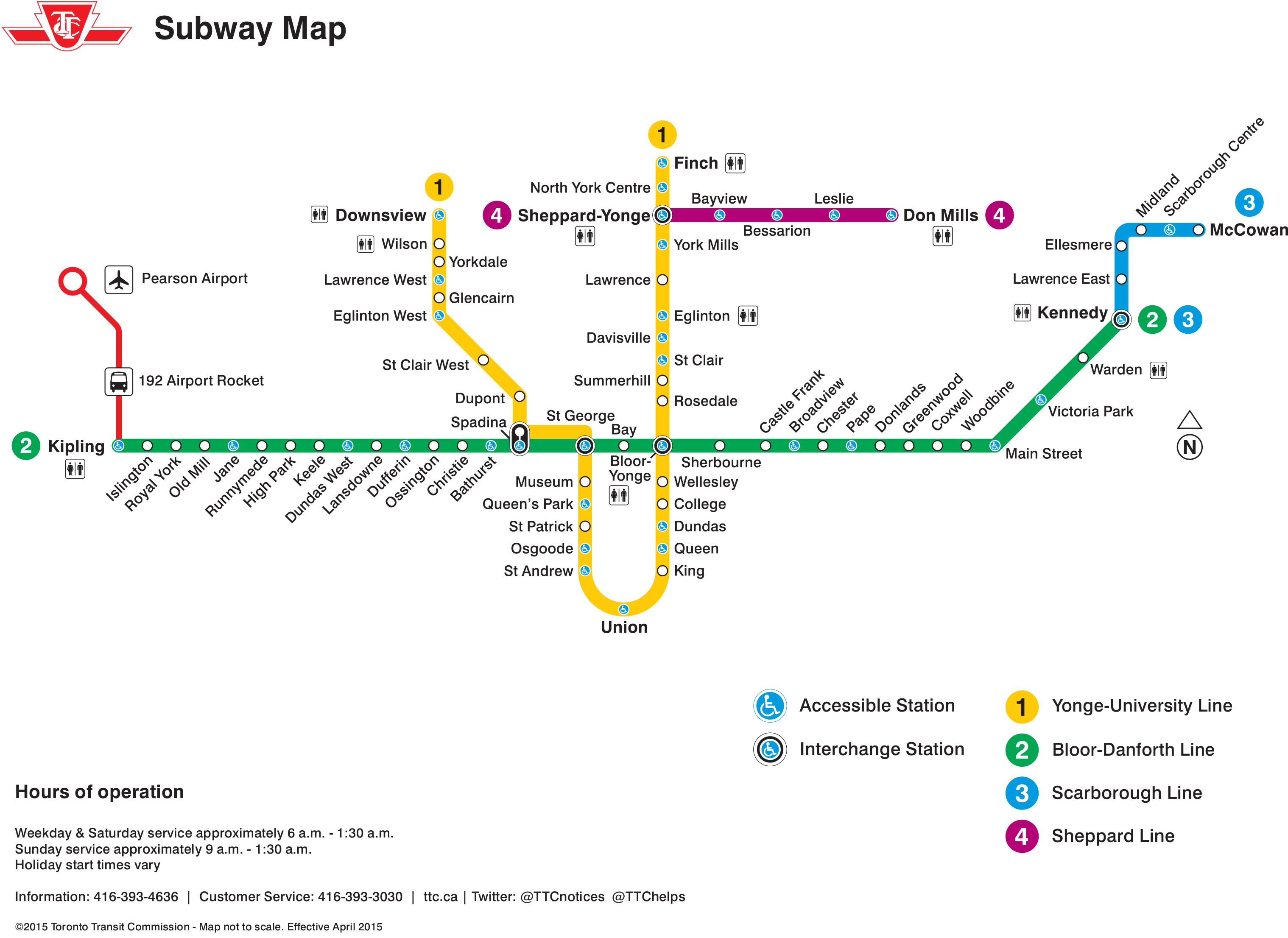 Carte du réseau du métro de Toronto, 2015