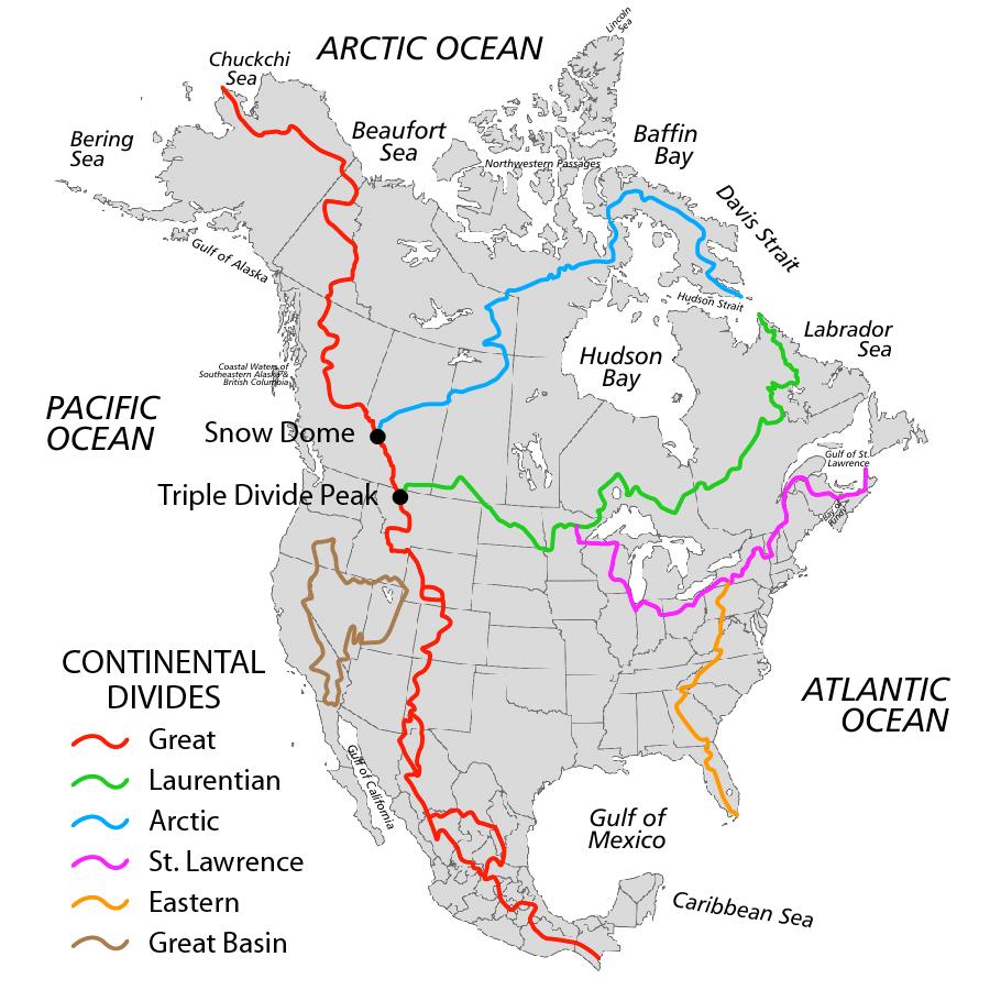 Principal Continental Divides of North America