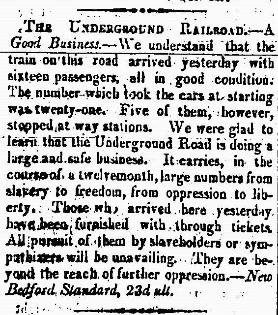 Coupure du journal The Provencial Freeman, dans les années 1850.
