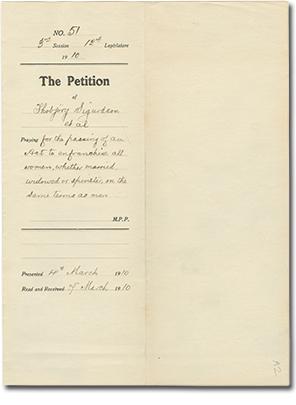 Pétition, 1910