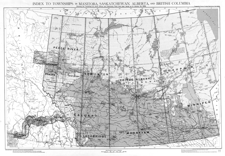Cantons de Manitoba, Saskatchewan, Alberta et Colombie-Britannique