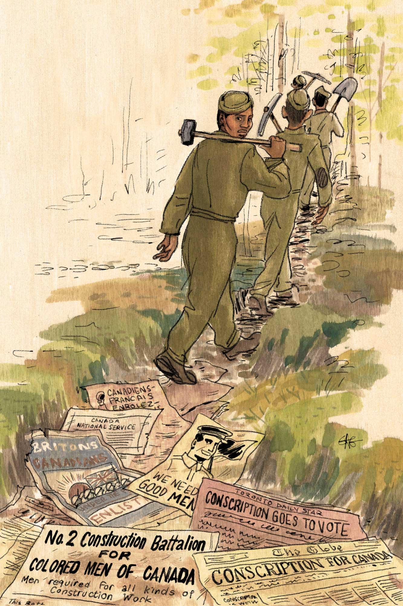 Soldats du 2e Bataillon de construction