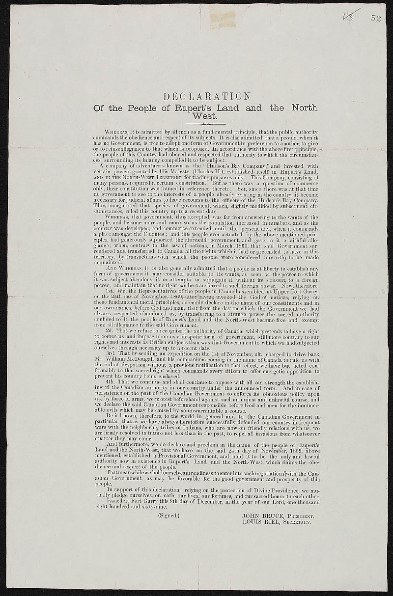 Declaration of the People of Rupert's Land and the North West