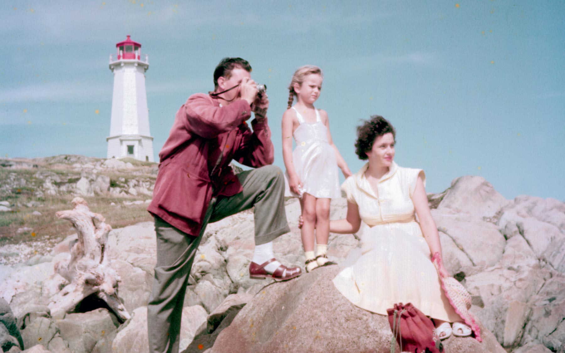 In front of the Fortress of Louisbourg, National Historic Site in Nova Scotia, 1952.