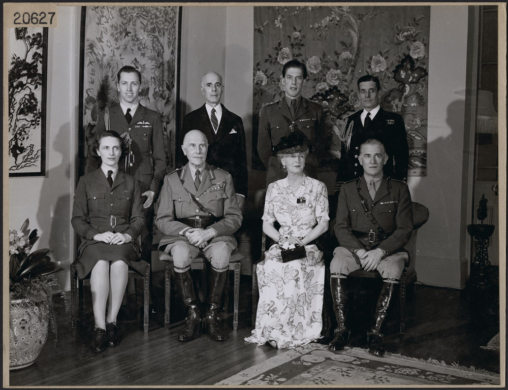 Governor General Earl of Althone and Princess Alice surrounded by members of their household in Rideau Hall