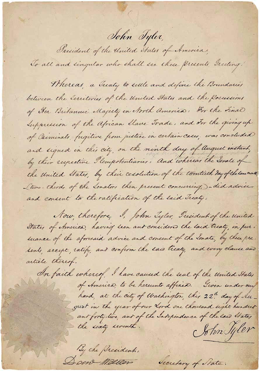 Webster-Ashburton Treaty Ratification, 9 August 1842.
