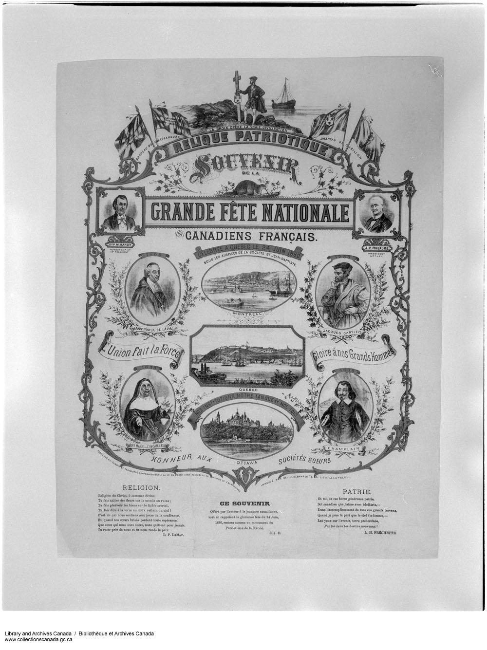 Souvenir of the St-Jean-Baptiste Day, Québec City (1880)