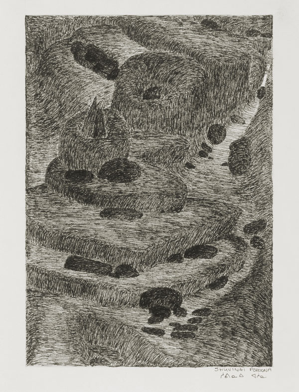 Shuvinai Ashoona, Low Tide, 1994, black felt pen on ivory wove paper, 33 x 51.5 cm.