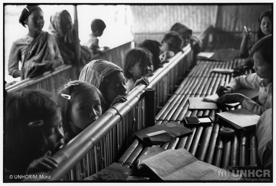 Refugee children at Tracing Centre in Khao I Dang camp, Thailand, 1980