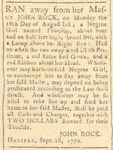 Annonce concernant un esclave en fuite