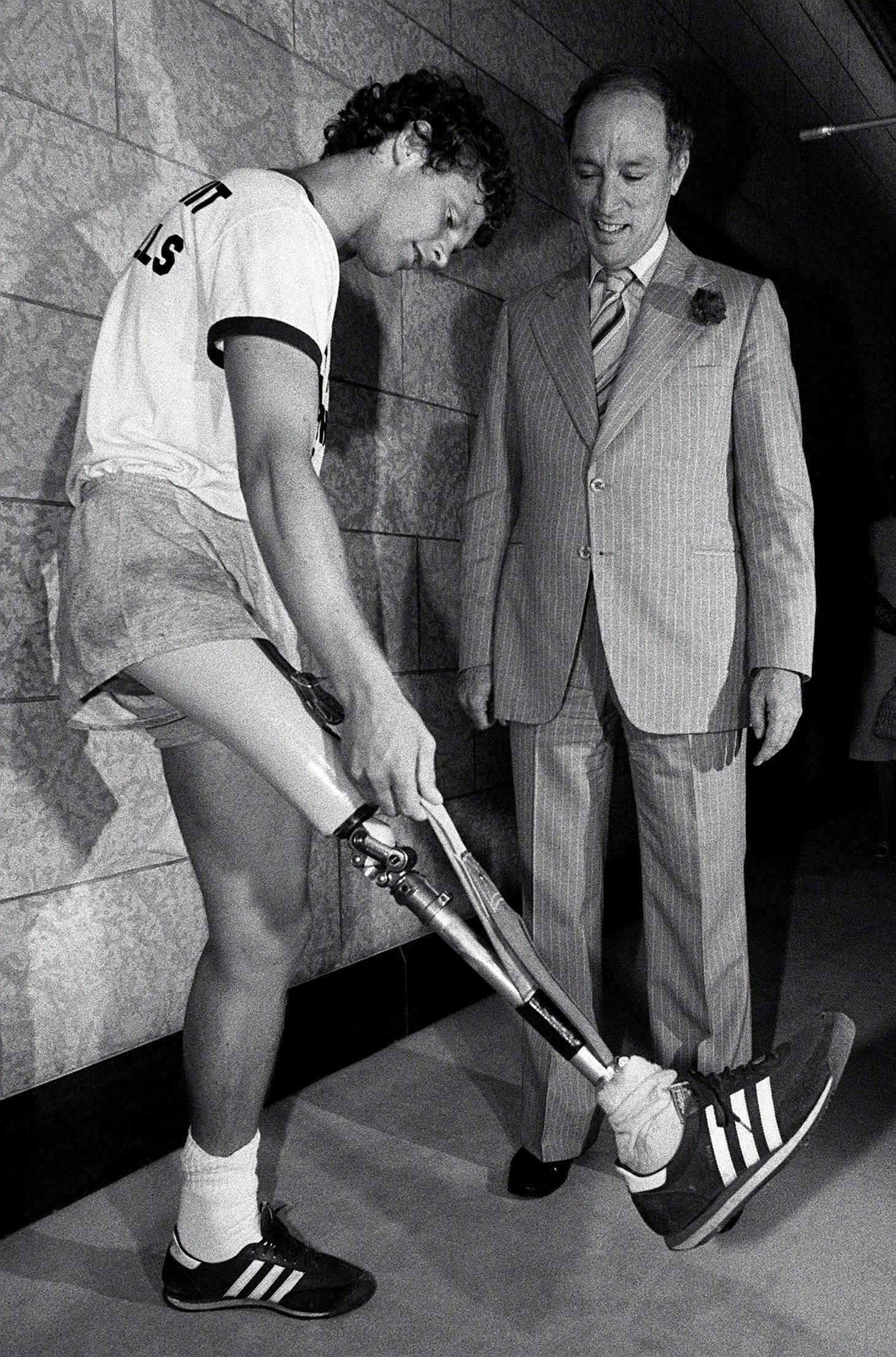 Terry Fox et le premier ministre Pierre Trudeau