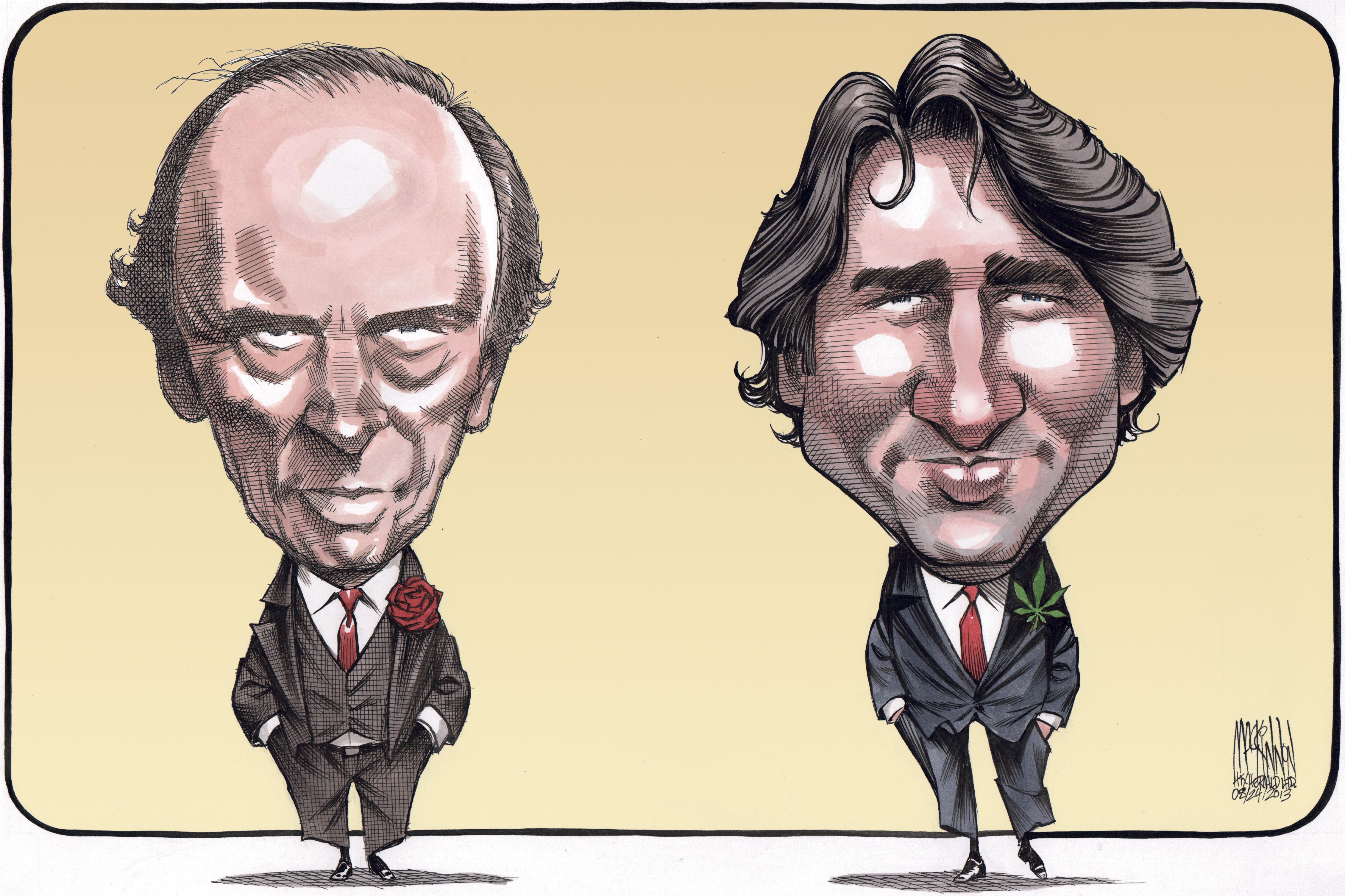 Pierre et Justin Trudeau