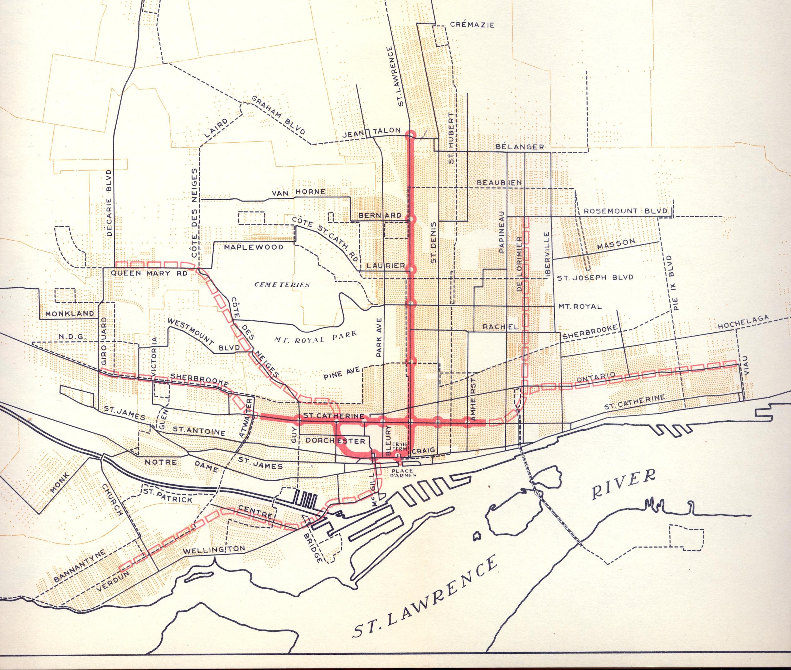 Métro de Montréal, tracé proposé, 1944