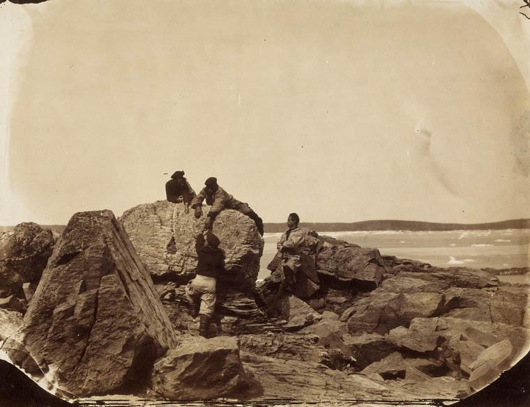 French fishermen climbing rocks, ca. 1857, Newfoundland