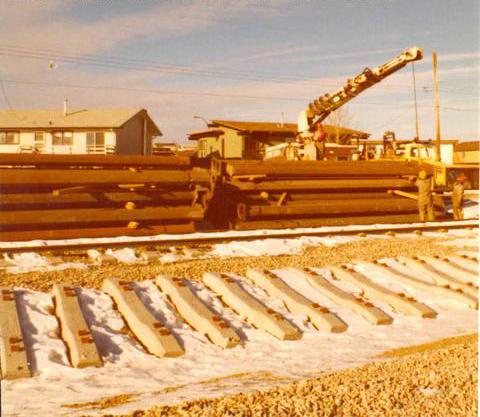 LRT track construction, Calgary, 1981