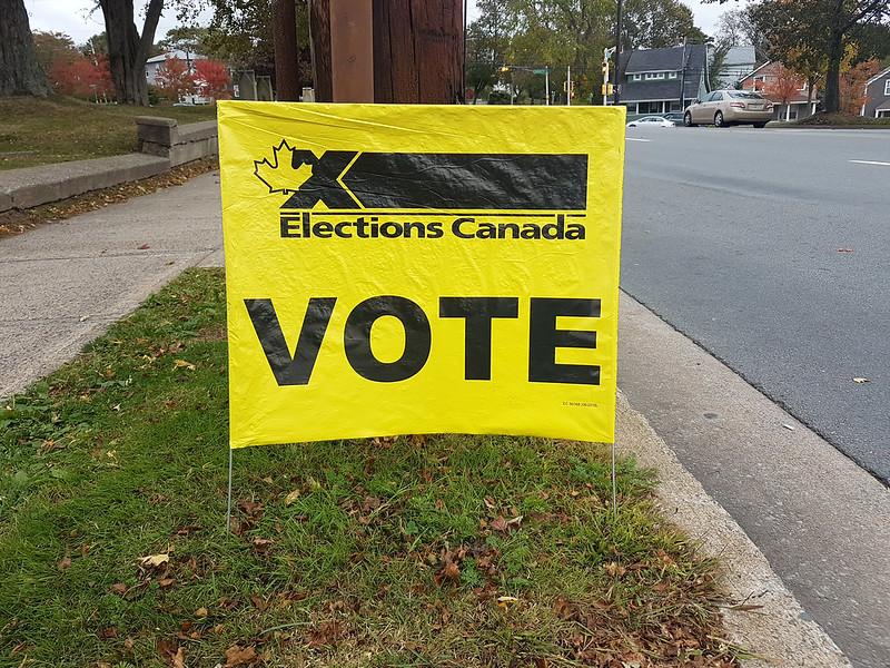 Bannière d'Élections Canada lors des élections fédérales canadiennes de 2019