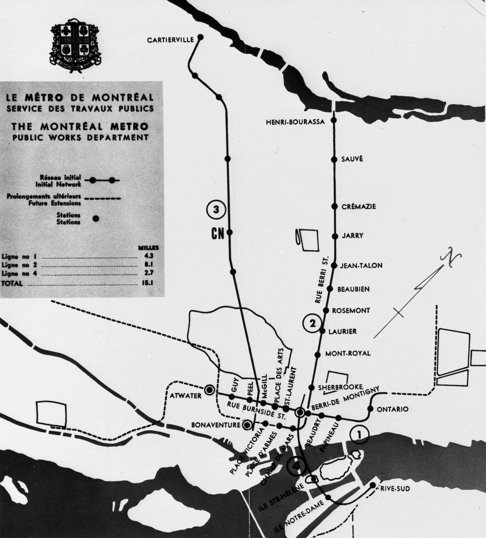 Métro de Montréal, carte du réseau modifié, 1963