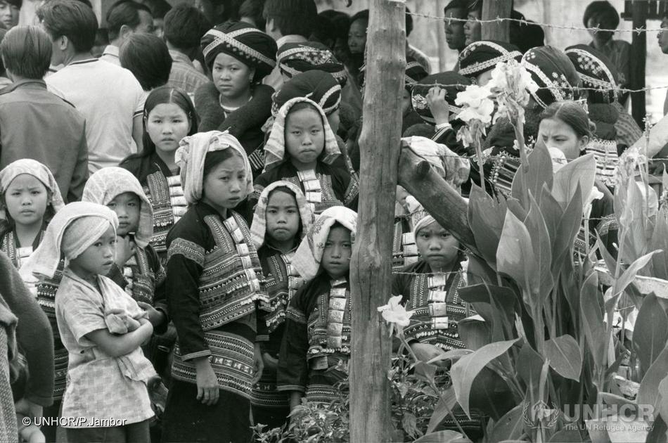Laotian refugee children in Chieng Kong refugee camp, Thailand, 1978