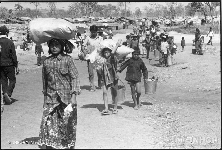 Kampuchean (Cambodian) refugees arriving in Khao I Dang camp, Thailand, 1980