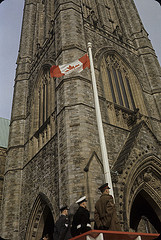 First raising of the new Canadian Flag, Centre Block, Parliament Buildings