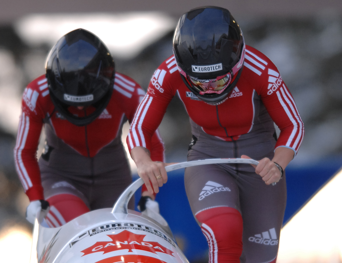 Kaillie Humphries, right, and Chelsea Valois during the World Cup race in Innsbruck, Au.tria,